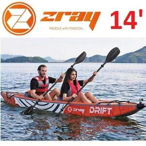 NEW ZRAY DRIFT 2 PERSON KAYAK 14 ZRAY-DRT 251949839 SELF BAILING INFLATABLE PADDLE BOAT SPORTS