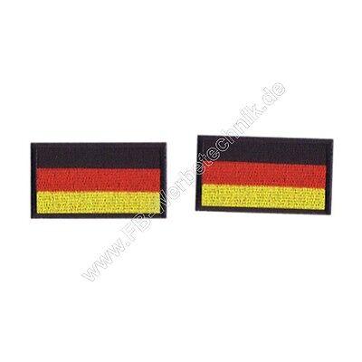 2x Deutschland Flagge Fahne BRD KLETT Aufnäher Patch 4x2,5cm Gestickt Abzeichen