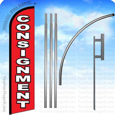 Consignment- Windless Swooper Flag 15 Kit Feather Banner Sign - Rf