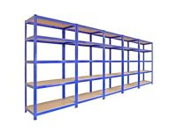5 Metal Racking Bays, Garage Shelving, Heavy Duty Storage Rack Units