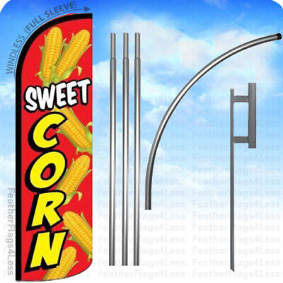 Sweet Corn - Windless Swooper Flag Kit 15 Feather Banner Sign - Rq