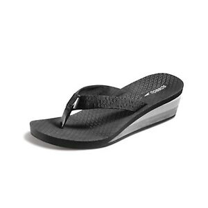 Ladies Wedge Flip Flops - Black/Grey - Size 9