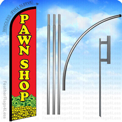 Pawn Shop- Windless Swooper Flag 15 Kit Feather Banner Sign - Rf