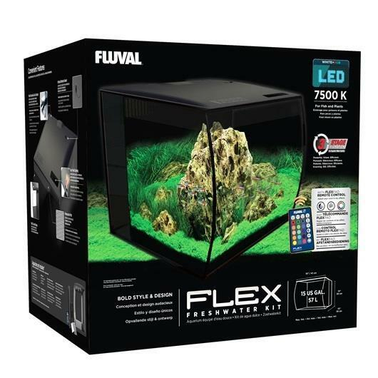 "FLUVAL - FLEX 57L 15 GALLON BLACK AQUARIUM KIT (16"" X 15"" X 15"")"