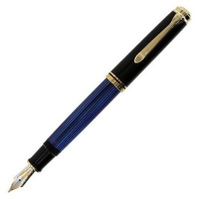 Pelikan Souveran M600 Fountain Pen - Black & Blue Gold Trim - Fine Point -995316