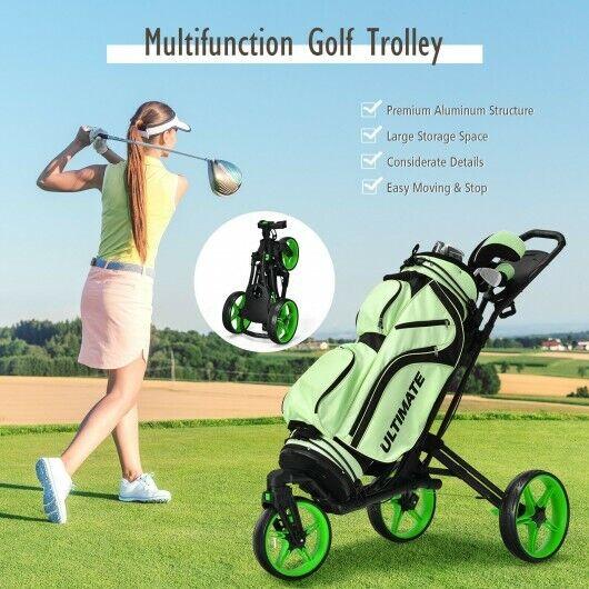 Goplus Folding Golf Push Cart W/Scoreboard Adjustable Handle Swivel Wheel Green
