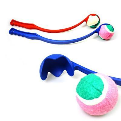 DOG BALL THROWER LAUNCHER WITH TENNIS BALL PUPPY PET TOY TRAINING EXERCISE