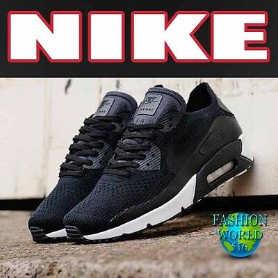 Nike Men's Size 11 Air Max 90 Ultra 2.0 Flyknit Running Shoes Black/White 875943