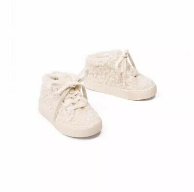 New Zara kids footwear high top faux shearling finish size 8 toddler girl ivory