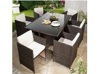 Brand New Monaco 7 Piece Natural Brown Rattan Cream Cushions 6 Cube Chairs Table Garden Patio Set