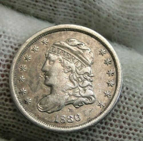 1836 Capped Bust Half Dime 5C Cents - Fantastic Coin, Free Shipping (9544)