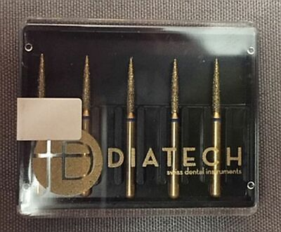 Diatech Dental Gold Diamond Bur Flame 8-3.5 Mm 853-008-3.5-xf Extra Fine 5 Count