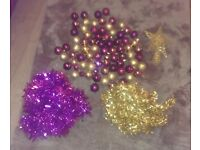 Purple and Gold Christmas Tree Decorations. Baubles, Tinsel & Tree Topper