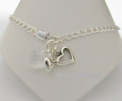 Triple Heart Charm Anklet made with Solid 925 Sterling Silver & Swarovski Heart