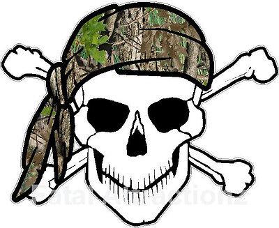 Bandana Dekorationen (Skull Crossbones Camo Bandana Vinyl Sticker Decal hunting camoflauge)