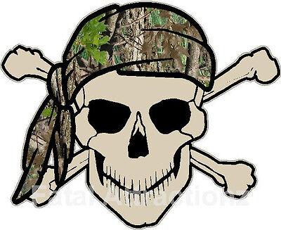 Bandana Dekorationen (Tan Skull Crossbones Camo Bandana Vinyl Sticker Decal hunting camoflauge)
