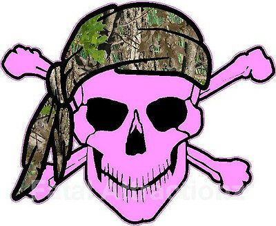 Bandana Dekorationen (Pink Skull Crossbones Camo Bandana Vinyl Sticker Decal hunting camoflauge)