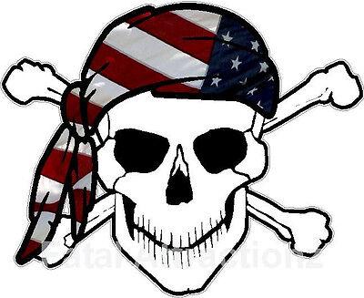Bandana Dekorationen (Skull Crossbones American Flag Bandana Vinyl Sticker Decal USA patriotic)