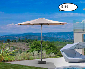 Outdoor Aluminum 10 Foot Diameter Patio Umbrella and bases