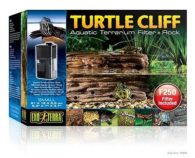 Exo-Terra Small Turtle Habitat Terrarium Tank Cliff Filter Rock & Pump -