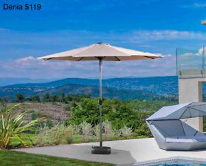 Outdoor Aluminum 10 Foot Diameter Patio Umbrella and bases