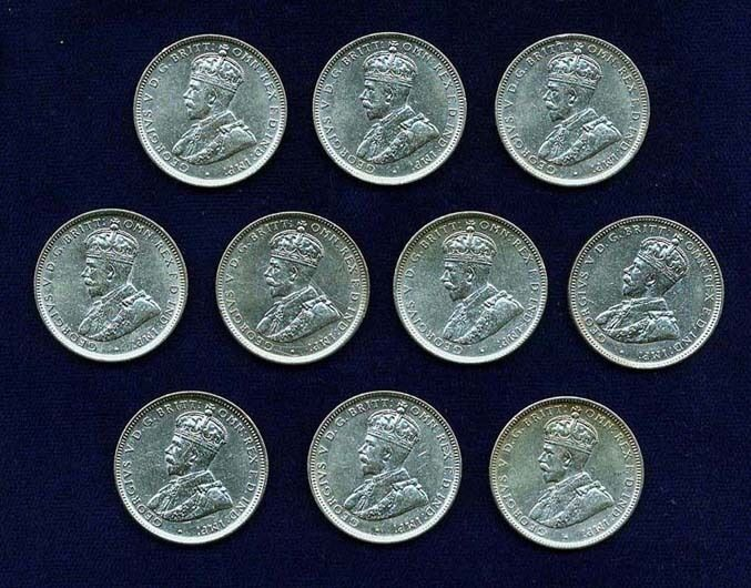 AUSTRALIA GEORGE V 1917-M  1 SHILLING SILVER COINS, GROUP LOT OF (10), XF to XF+