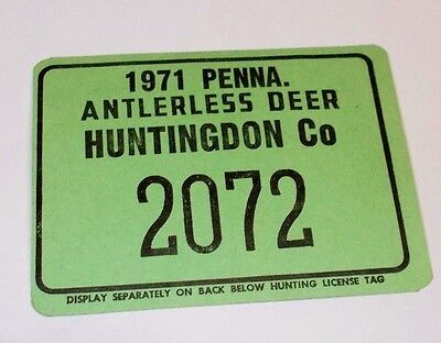 Vintage1971 Pennsylvania Antlerless Deer Huntingdon Co.Cardboard Hunting License