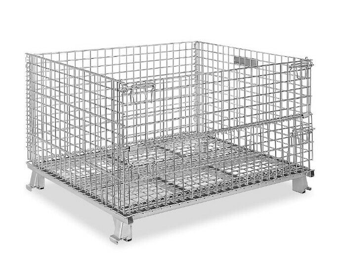 ULine Collapsible Wire Container Stackable Basket Pallet H-2090 48 x 40 x 30