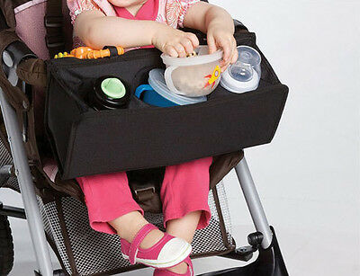 Baby Snack Tray - 1pc black Baby Stroller snack tray bag mum out Kid universal pram front bar bag
