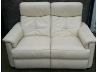 Modern Ivory Leather 2 Seater Recliner Sofa ***FREE DELIVERY WITHIN 15 MILES OF DERBY***