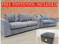 🚛FREE DELIVERY🚛BRAND NEW JUMBO CORD 3+2 SET WITH FREE MATCHING FOOTSTOOL INCLUDED✅