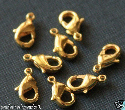 50 pcs of Gold Plated Lobster clasps 12X6mm