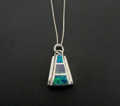 Gilson Opal Triangle Inlay Pendant Sterling Silver 925 Chain NECKLACE