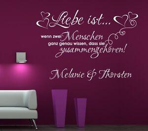 Wandaufkleber Wandtattoo Wohnzimmer Schlafzimmer Wandbild Liebe ist  #62 + Namen