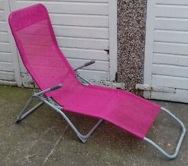 Pink Sun Lounger Chair Sunlounger