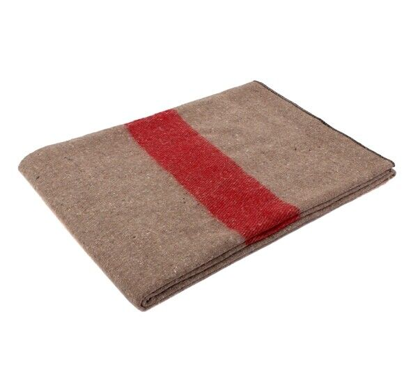 Rothco Tan With Red Stripe Wool Blanket - 10238