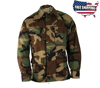 PROPPER WOODLAND CAMO CAMOUFLAGE BDU SHIRT COAT JACKET, F545412320 SMALL MEDIUM Camo Propper Bdu Shirt