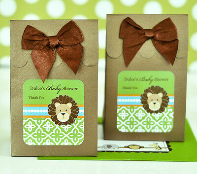 24 Personalized Jungle Safari Theme Baby Shower Birthday Candy Boxes Bags Favors (Jungle Themed Baby Shower Favors)