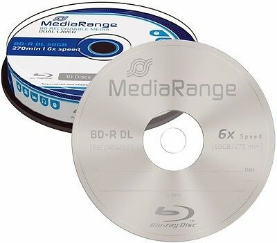 10 MediaRange BD-R DL 50GB 6x Blu-ray Rohlinge Spindel