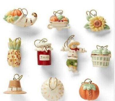 Lenox Tree Miniature Ornament Set AUTUMN FAVORITES Thanksgiving 10 Pieces