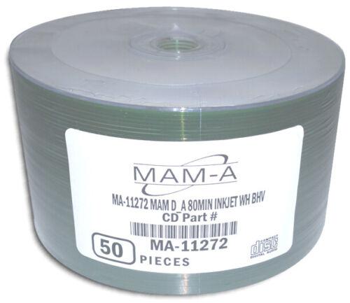 50-Pak MAM-A (Mitsui) DIGITAL-AUDIO White Inkjet Hub Printable CD-R
