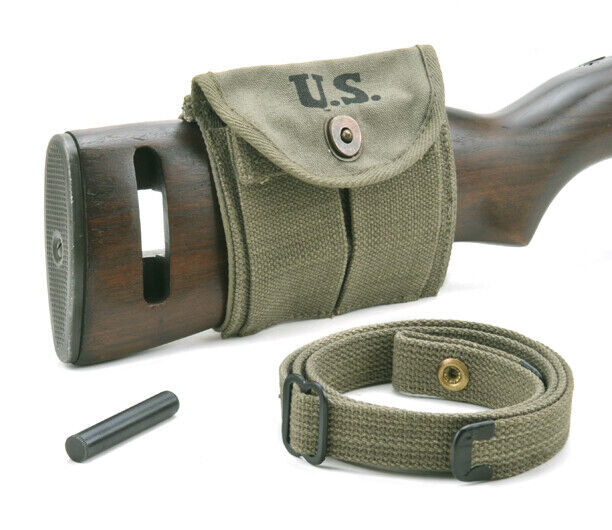 USGI WW2 .30 M1 CARBINE SLING, OILER, & BUTTSTOCK POUCH OD Green Dated 1944