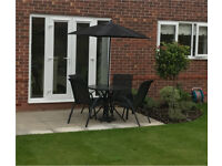 Garden Table and 4 Chairs with Parasol and Base