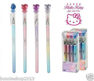 4 pcs/Lot hello kitty Princess Crystal cat head pen Gel pen 2017 New