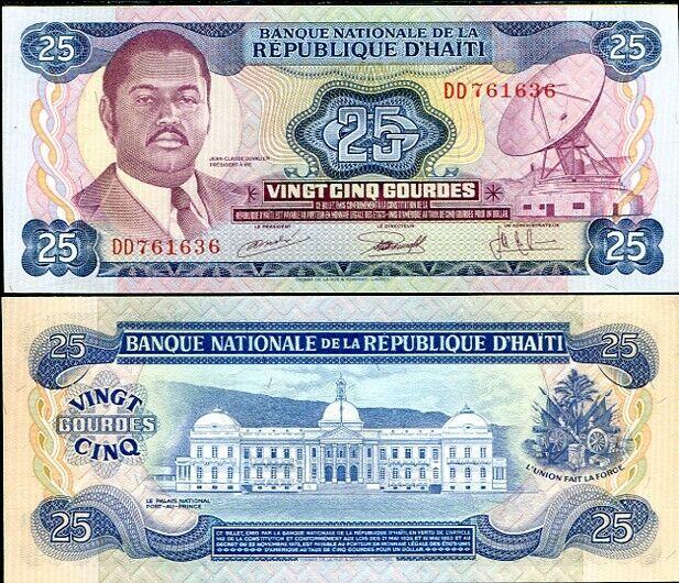 HAITI 25 GOURDES L.1973 P 218 AU-UNC