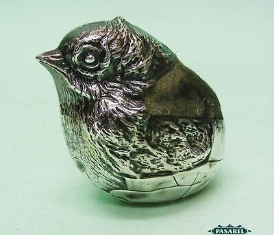 Novelty Sterling Silver Chick Pin Cushion Sampson Mordan London England 1922