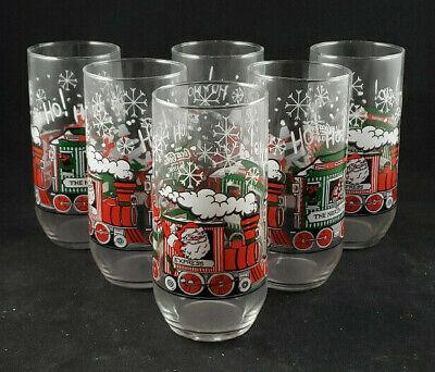Vtg1984 Coca Cola Christmas Santa Claus Train McCrory Store Inc. Glass Set of 6