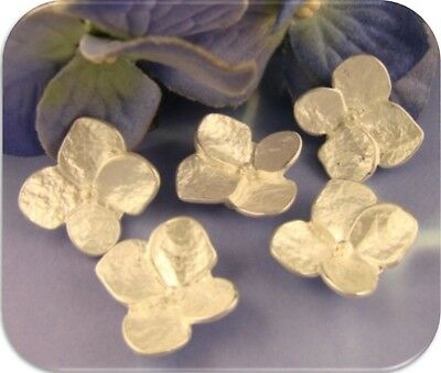 2 Hole Beads ~ WHITE Hydrangea Flowers ~ Brushed Silver Metal ~ Sliders QTY 5