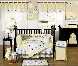 Boutique Luxury Yellow Bumblebee Discount Designer Unisex Baby Crib Bedding S