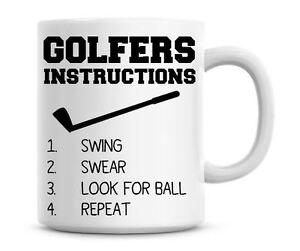 Funny Golfers Instructions Coffee Mug Personalised Golf Mug Christmas Gift